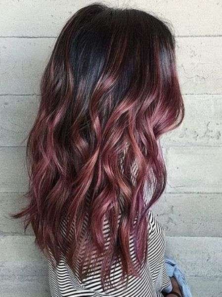 Shatush capelli scuri chocolate mauve