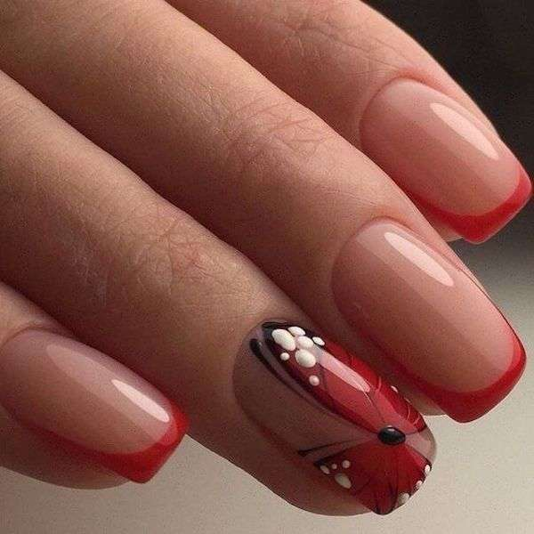 Unghie gel french rosso