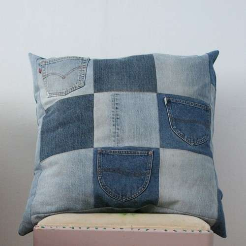 Cuscino jeans patchwork